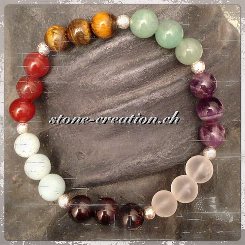 Chakra-Armband aus Edelsteinen und Silberelementen