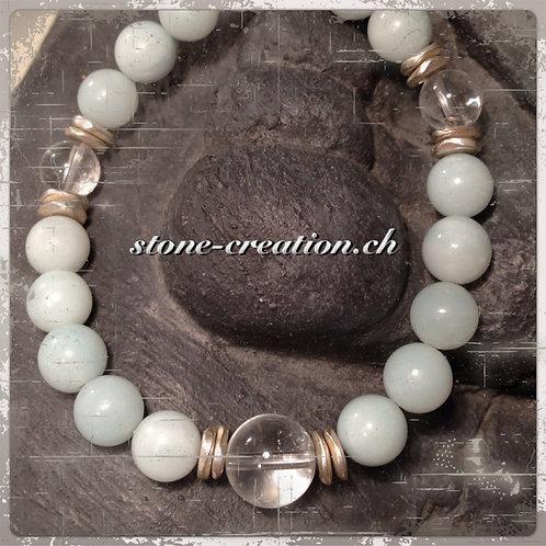 Damenarmband aus Edelsteinen und Silberelementen