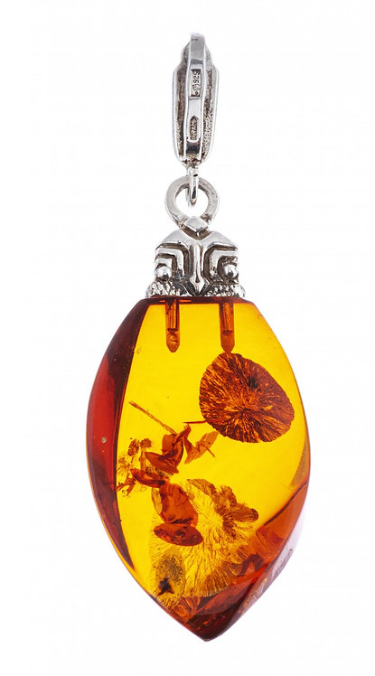 Кулон (подвеска) из янтаря, серебро пр.925, СССР.
