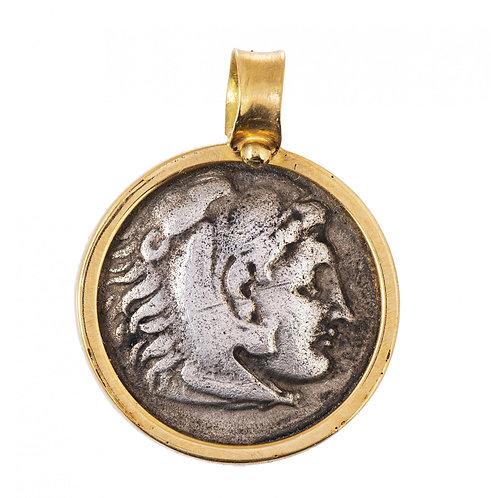 Кулон золотой 750 пр. с античной серебряной монетой Александра Македонского