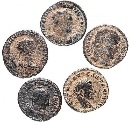 5 монет Римской империи III-V вв (состояние F-VF) (Бронза)