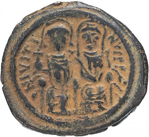 Византийская империя, Юстин II и София, 565-578 годы, фоллис. Justin Sophia AE