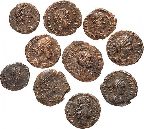 10 монет Римской империи III-V вв (состояние F-VF)Group of 10 Roman Copper Coins