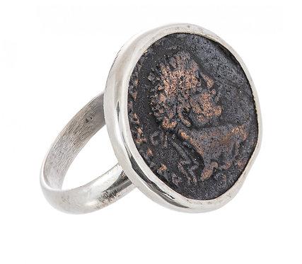 Серебряное кольцо 750 пр. с античной медной Римской монетой, Ручная работа.
