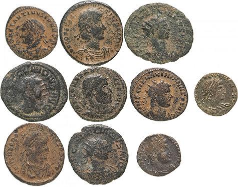 10 монет Римской империи III-V вв (состояние F-VF) 10 Roman Copper Coins