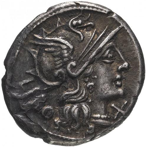 Римская республика, Кв.Марций Либон, 148 год до Р.Х., Денарий.