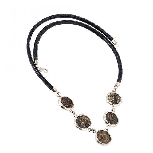 Колье серебряное 750 пр. с античными медными Римскими монетами, Ручная работа.