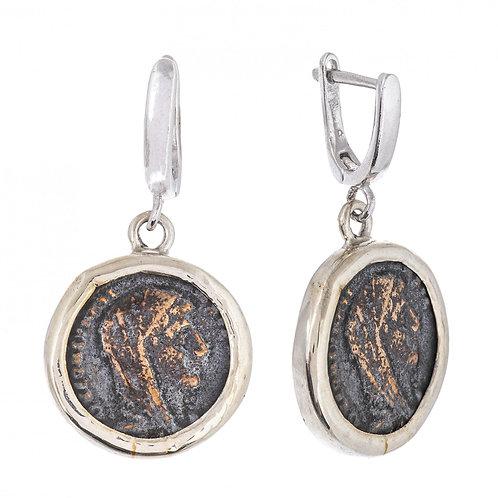 Серьги серебряные 750 пр. с античными медными Римскими монетами , Ручная работа.