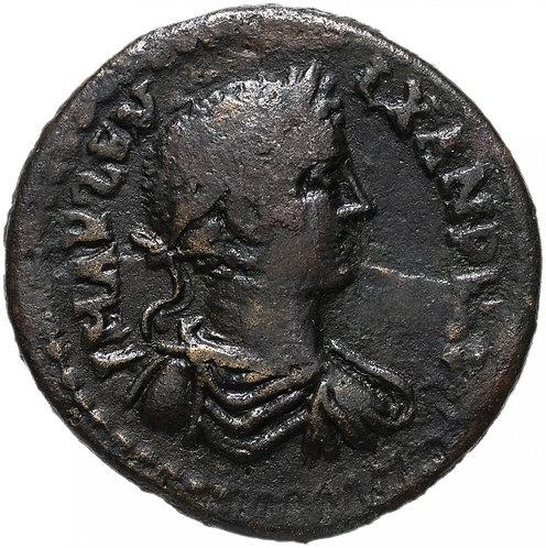 Рим, Александр Север, Троада, 222-235 годы, бронза 26мм.(пьяный геракл)