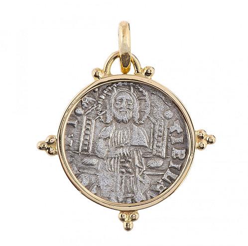 Кулон золотой 585 пр. с античной серебряной монетой Франческо Фоскари 1423-1457