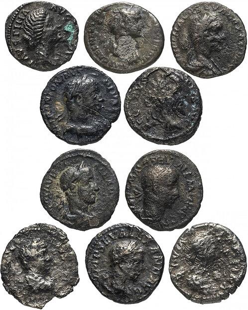 10 монет Римской империи II-III вв (состояние F) (Денарий) (Серебро)
