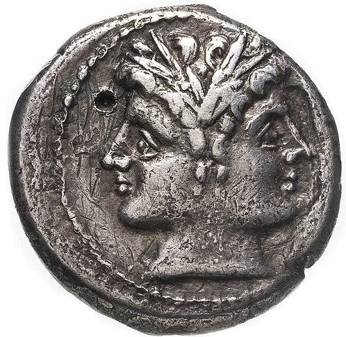 Римская республика, анонимный выпуск, 225-212 год до Р.Х., Дидрахма. Quadrigatus