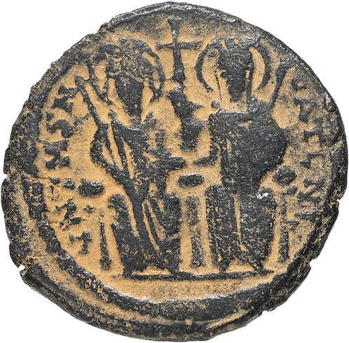Византийская империя, Юстин II, 565-578 годы, фоллис.(Антиохия)Justin Sophia AE