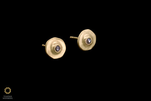 Yellow gold earrings with rose cut brown diamonds