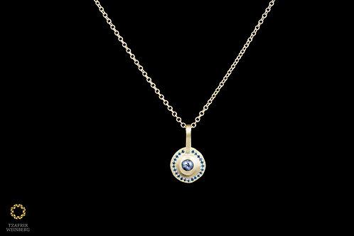 18k gold necklace, 22k gold pendant with 0.20ct black diamond and blue diamonds