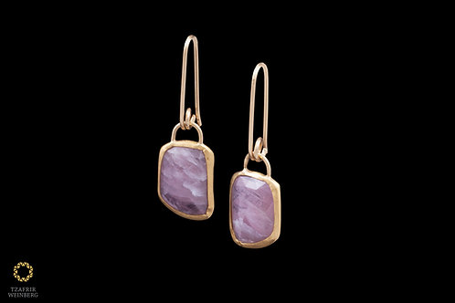 "22k Gold earrings with pink ""square"" shaped Sapphire gem and 18k hooks"