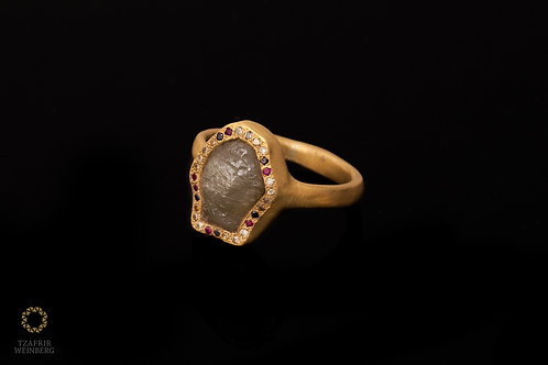 Rough diamond ring 22k