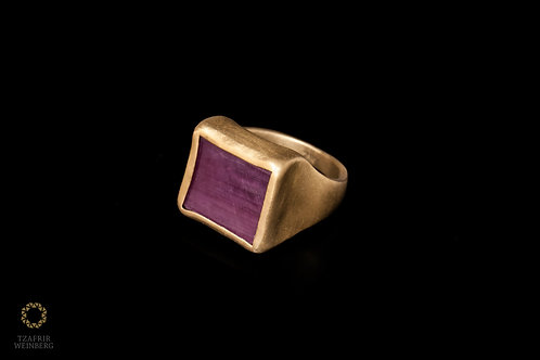 14k Inlaid gold ring African ruby