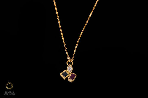 18k Gold necklace with Marquee champagne diamond