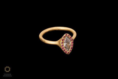 14k Gold Diamond Ring Marquise gray