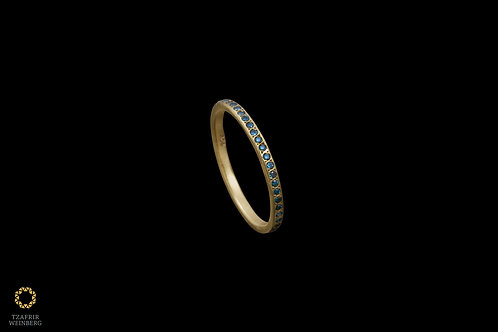 22k gold ring with colored diamonds 0.25ct - full/partial inlaid