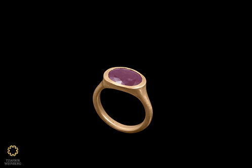 18k gold ring with oval Ruby gem