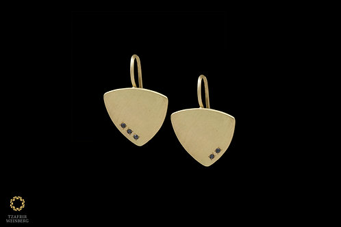 18k Hanging gold earrings with five 0.05ct black Diamonds