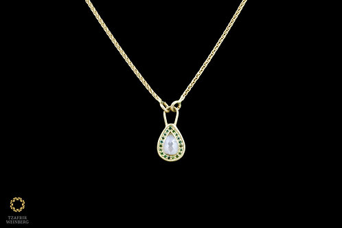 "18k gold necklace, pendant with ""drop"" shaped 1.5ct gray central diamond and rou"