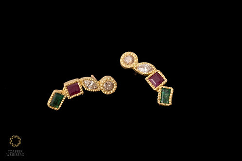 Gold earrings with Ruby, Emerald and Champagne diamonds