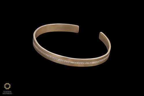 18k Yellow gold rigid bracelet with 1.0ct of white GVS1diamonds