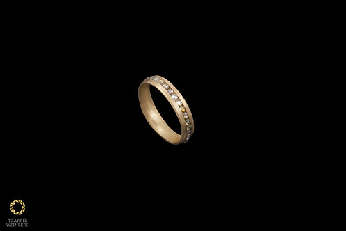 22k gold ring inlaid colored rose cut diamond