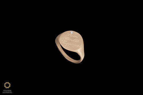 18k Gold seal ring with engraving and 0.02ct diamond