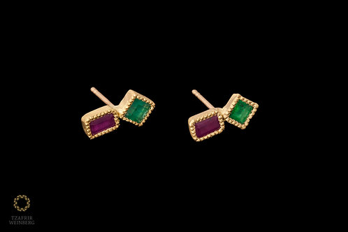 18K Gold earrings with Ruby and Emerald gemstones