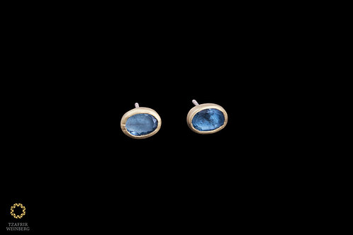 18K Gold earrings with Aquamarine gems wrapped with 22k gold