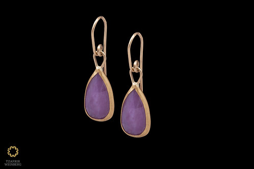 "22k Gold earrings with pink ""drop"" shaped Sapphire gem and 18k hooks"