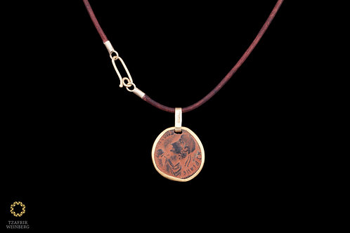 Leather necklace with 22k gold ancient roman coinplaid pendant and 18k gold loc
