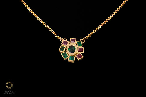 18k Gold necklace with pendant Emerald and Ruby gemsstuded