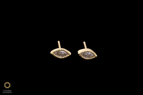 Yellow gold earrings with 0.20ct Marquise Champagne Diamonds