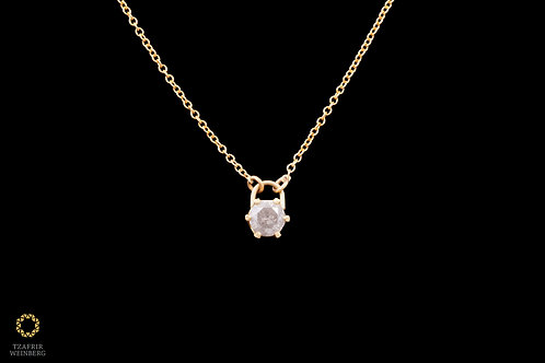 18k Yellow gold necklace with 1.20ct gray diamond pendant