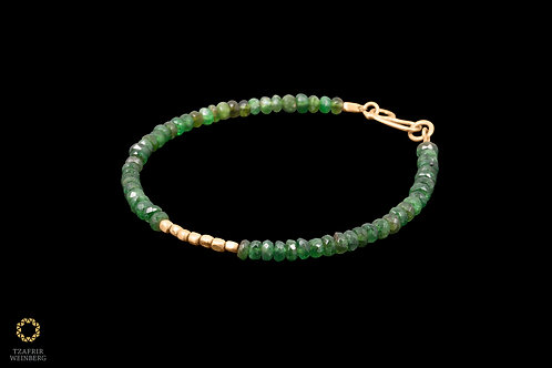 18k Yellow gold and emerald bracelet