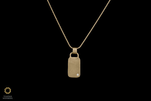 "18k Gold necklace with white diamond studed ""bag"" shaped pendant"