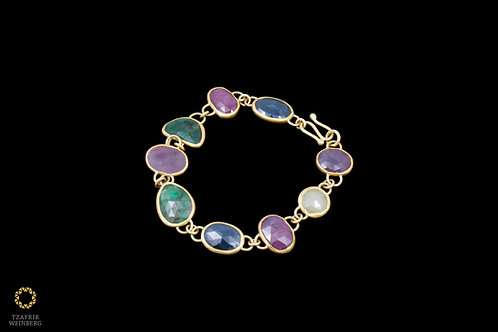 22k Yellow gold and gems bracelet - Emerald, Ruby and Sapphire