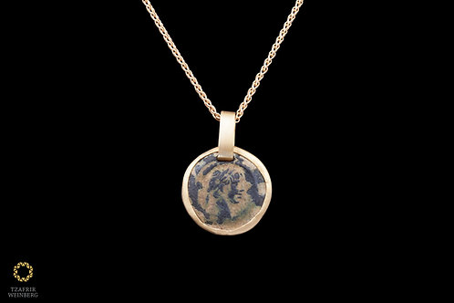 18k Yellow gold necklace with 22k gold ancient coin studed pendant
