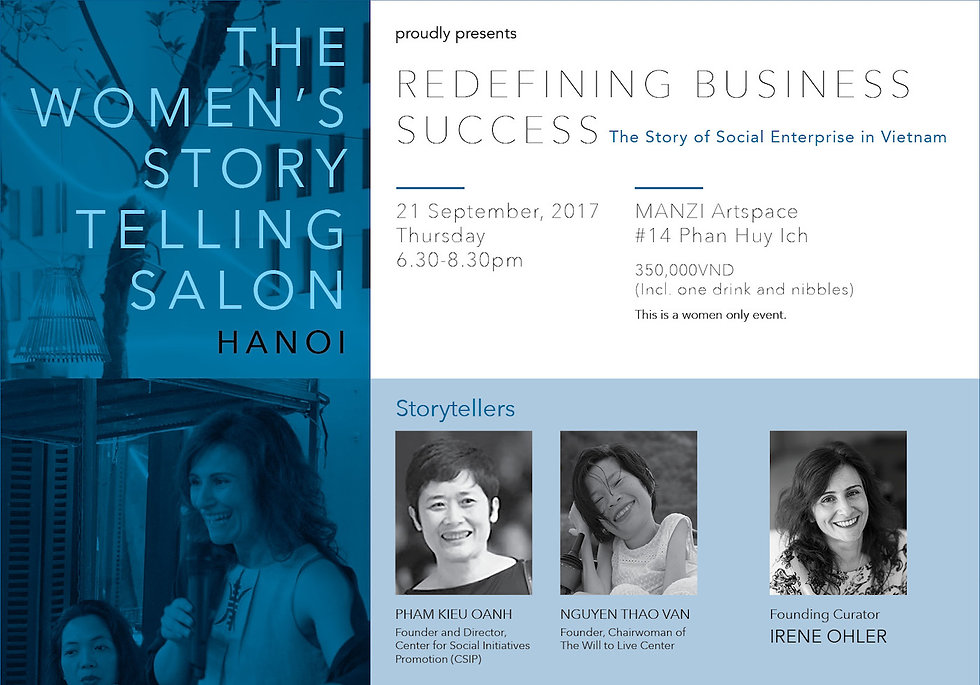 Women's Storytelling Salon : redefining business success - The story of Social Enterprise
