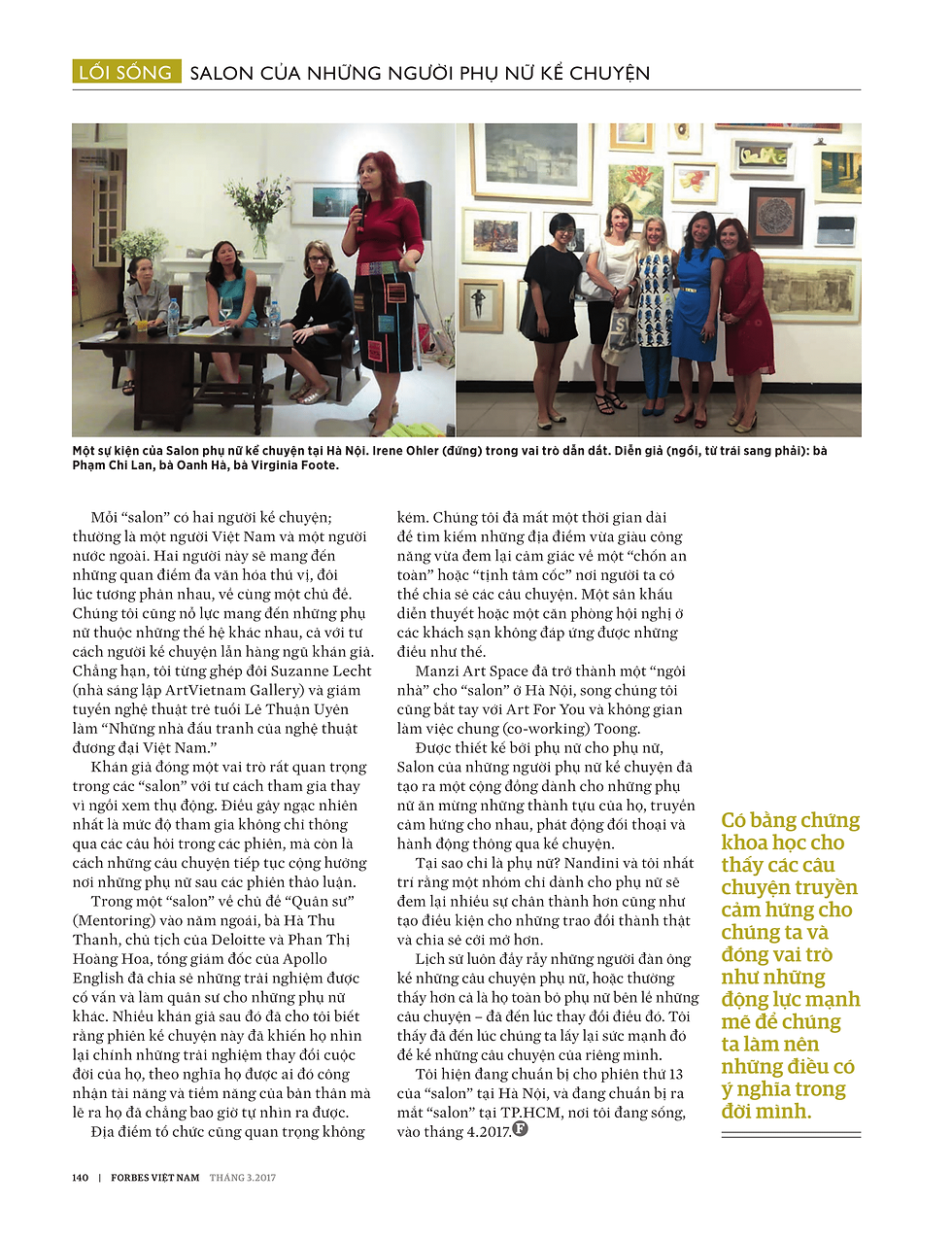 Forbes Vietnam featured the Women's Storytelling Salon in a special March2017 issue celebrating International Women'sDay.