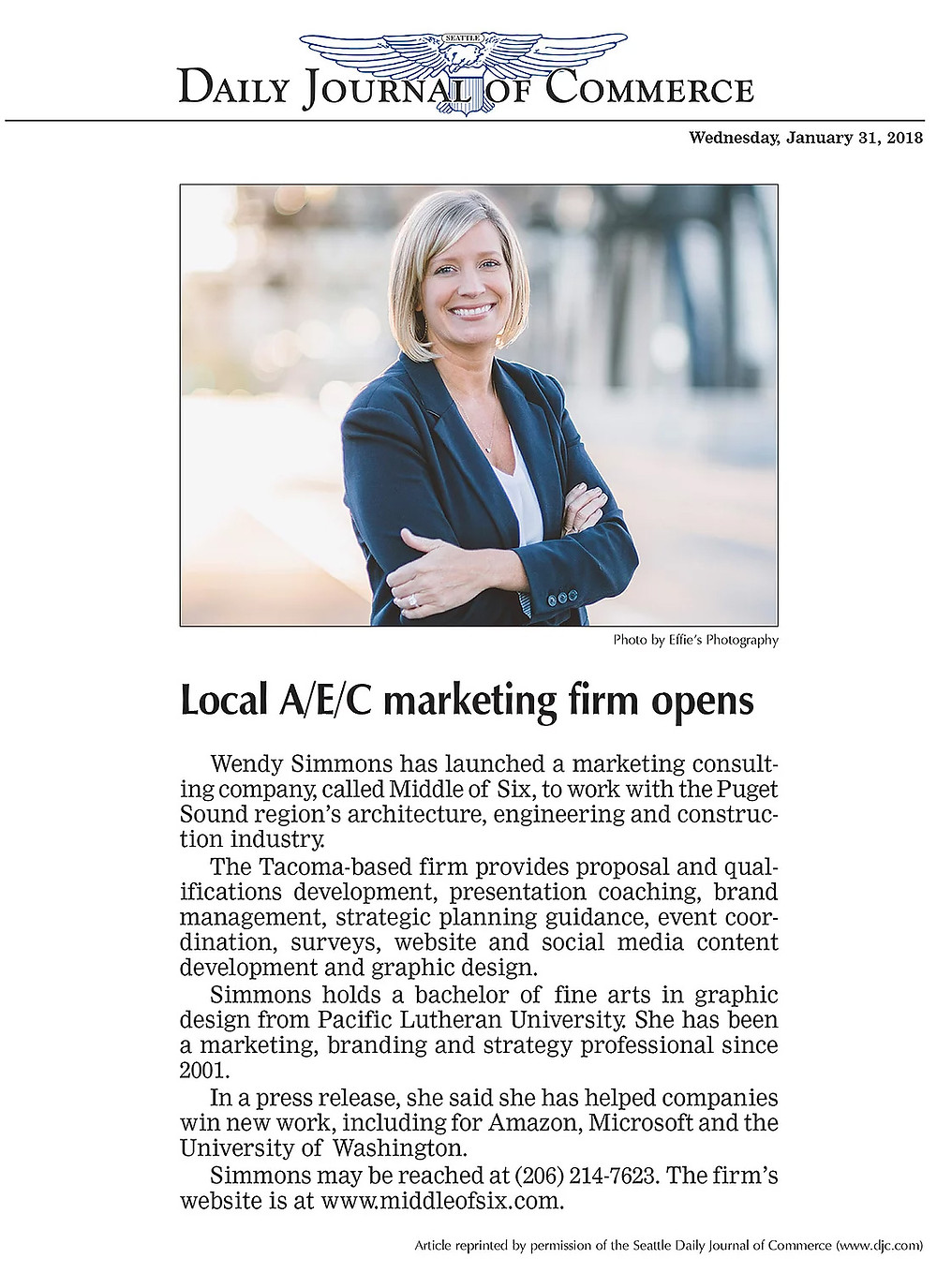 Middle of Six, Architecture, Engineering and Construction Marketing firm, launch reported by the Daily Journal of Commerce