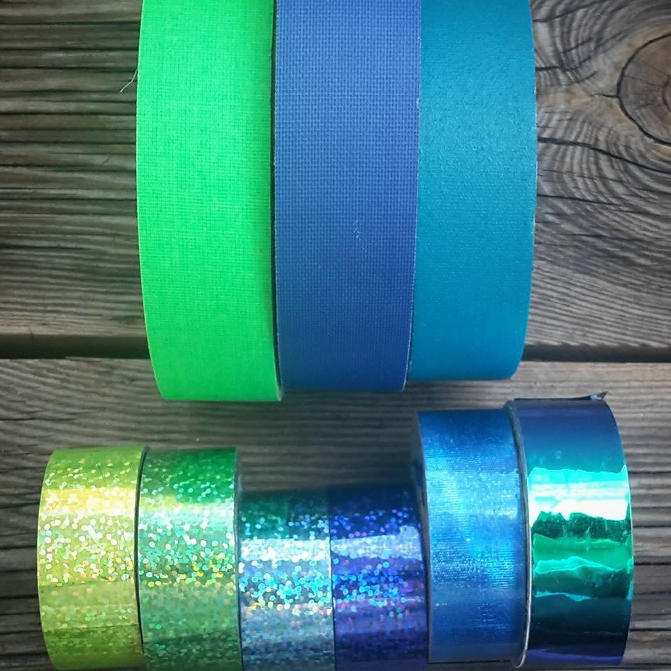 modré a zelené