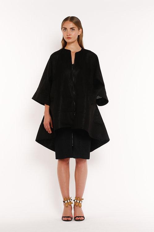 Oversized Black Zipfront Jacket