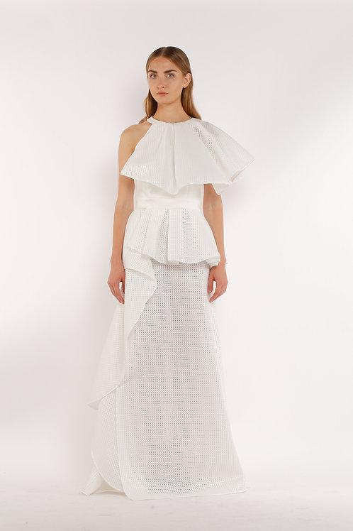 White Ruffle Long Skirt