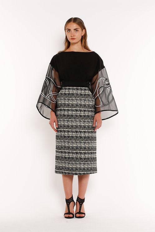Short Textured Dress with Embroidered Sleeves